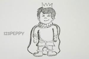 нарисовать пошагово мальчика-принца карандашом, рисунок  мальчика-принца, контурный рисунок,  черно-белый