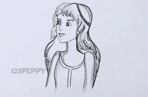 нарисовать пошагово девушку с длинными волосами карандашом, рисунок  девушки с длинными волосами, контурный рисунок,  черно-белый