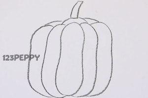 нарисовать пошагово тыкву карандашом, рисунок  тыквы, контурный рисунок,  черно - белый
