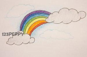 нарисовать пошагово радугу карандашом, рисунок  радуги, контурный рисунок,  цветной
