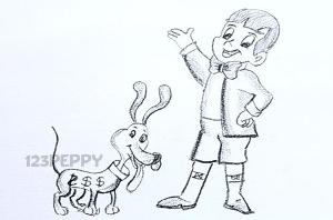 нарисовать пошагово мальчик с собакой карандашом, рисунок  мальчика с собакой, контурный рисунок,  черно-белый