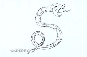 нарисовать пошагово узорную змею карандашом, рисунок  узорной змеи, контурный рисунок,  черно - белый