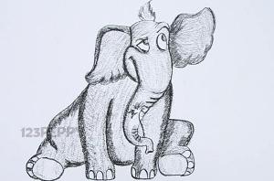 нарисовать пошагово сидящего слона карандашом, рисунок  сидящего слона, контурный рисунок,  черно - белый