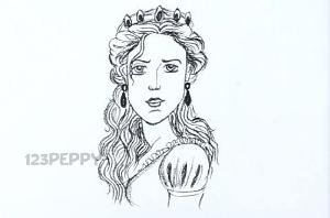 нарисовать пошагово царицу карандашом, рисунок  царицы, контурный рисунок,  черно-белый