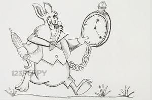 нарисовать пошагово белого кролика из Алисы в стране чудес карандашом, рисунок  кролика из Алисы в стране чудес, контурный рисунок,  черно- белый