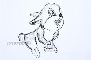 нарисовать пошагово милого зайчика карандашом, рисунок  милого зайчика, контурный рисунок,  черно - белый
