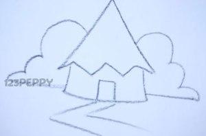 нарисовать пошагово маленький домик карандашом, рисунок  маленького, крошечного домика, контурный рисунок,  черно-белый