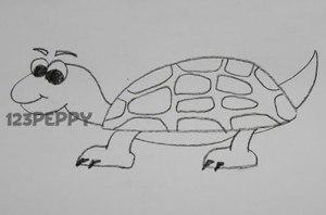 нарисовать пошагово черепаху карандашом, рисунок  черепахи, контурный рисунок,  черно- белый