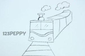 нарисовать пошагово поезд карандашом, рисунок  поезда, контурный рисунок,  черно-белый