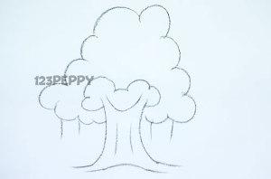 нарисовать пошагово простое дерево карандашом, рисунок  простого дерева, контурный рисунок,  черно- белый