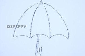 нарисовать пошагово зонтик карандашом, рисунок  зонтика, контурный рисунок,  черно-белый