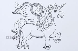 нарисовать пошагово единорога карандашом, рисунок  единорога, контурный рисунок,  черно- белый