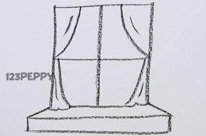 нарисовать пошагово окно карандашом, рисунок  окна, контурный рисунок,  черно-белый