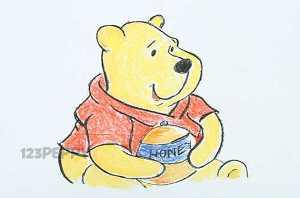 нарисовать пошагово Винни Пуха с медом карандашом, рисунок  Винни Пуха с медом, контурный рисунок,  цветной