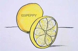 нарисовать пошагово лимон карандашом, рисунок  лимона, контурный рисунок,  цветной