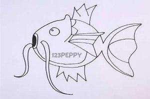 нарисовать пошагово волшебную рыбку карандашом, рисунок  волшебной рыбки, контурный рисунок,  черно-белый