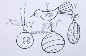 нарисовать пошагово елочные игрушки карандашом, рисунок  елочных игрушек, контурный рисунок,  черно- белый