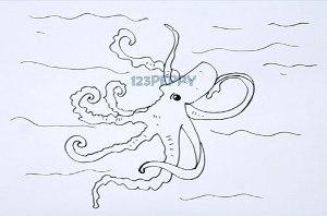 нарисовать пошагово симпатичного осьминога карандашом, рисунок  симпатичного осьминога, контурный рисунок,  черно-белый