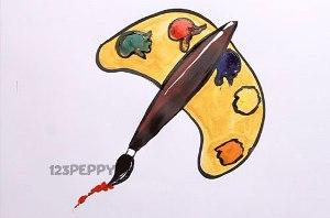 нарисовать пошагово краски с кисточкой карандашом, рисунок  палитры с кисточкой, контурный рисунок,  цветной