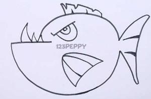 нарисовать пошагово пиранью карандашом, рисунок  пираньи, контурный рисунок,  черно-белый