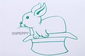 нарисовать пошагово кролика в шляпе карандашом, рисунок  кролика в шляпе, контурный рисунок,  черно-белый