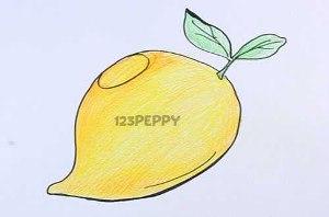 нарисовать пошагово зрелое манго карандашом, рисунок  зрелого манго, контурный рисунок,  цветной