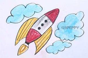 нарисовать пошагово ракету карандашом, рисунок  ракеты, контурный рисунок,  цветной