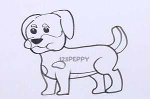 нарисовать пошагово собаку, ротвейлера карандашом, рисунок  собаки, ротвейлера, контурный рисунок,  черно - белый