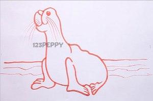 нарисовать пошагово морского льва карандашом, рисунок  морского льва, контурный рисунок,  черно-белый