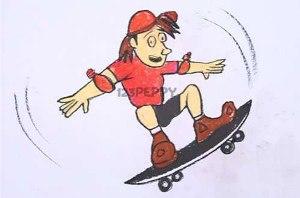 нарисовать пошагово человека на скейтборде карандашом, рисунок  человека на скейтборде, контурный рисунок,  цветной