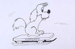 нарисовать пошагово собаку на санках карандашом, рисунок  собаки на санках, контурный рисунок,  черно-белый
