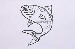 нарисовать пошагово симпатичную рыбку карандашом, рисунок  симпатичной рыбки, контурный рисунок,  черно-белый