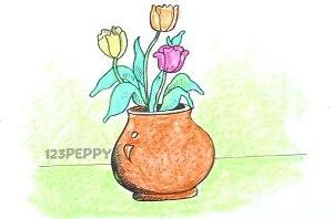 нарисовать пошагово вазу с цветами карандашом, рисунок  вазы с цветами, контурный рисунок,  цветной