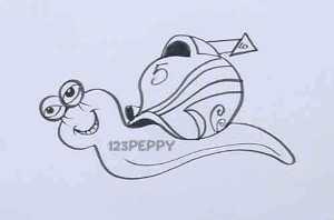 нарисовать пошагово быструю улитку карандашом, рисунок  быстрой улитки, контурный рисунок,  черно-белый