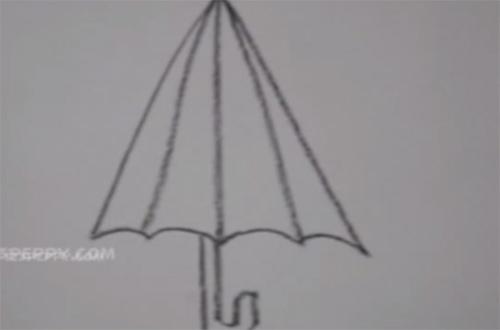 нарисовать пошагово зонт карандашом, рисунок  зонта, контурный рисунок,  черно-белый