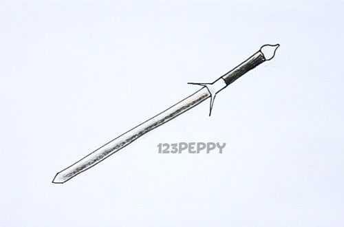 нарисовать пошагово клинок карандашом, рисунок  клинка, контурный рисунок,  черно - белый