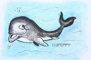нарисовать пошагово весёлого кита карандашом, рисунок  весёлого кита, контурный рисунок,  цветной
