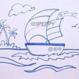кораблик с парусами