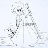 мальчик с собакой в лодке