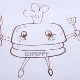 гамбургер с вилкой и ложкой
