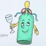 бутылку с бокалом