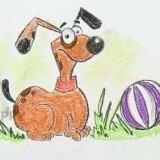 собаку с мячом