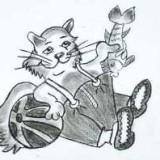 мультяшного кота в одежде