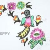 красочную птицу