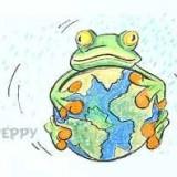 лягушку с земным шаром или глобусом