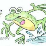 зеленую лягушку с комаром