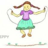 прыгающую на скакалке девочку