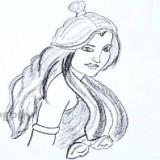 женщину с длинными волосами