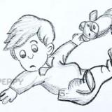 мальчика с игрушечным мишкой